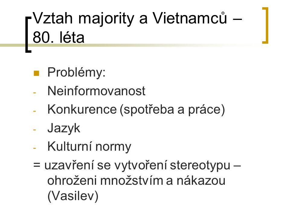 Vztah majority a Vietnamců – 80. léta Problémy: - Neinformovanost - Konkurence (spotřeba a práce) - Jazyk - Kulturní normy = uzavření se vytvoření ste