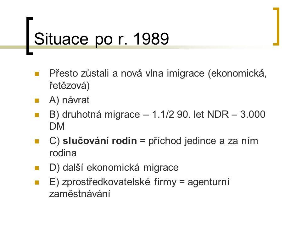 Situace po r. 1989 Přesto zůstali a nová vlna imigrace (ekonomická, řetězová) A) návrat B) druhotná migrace – 1.1/2 90. let NDR – 3.000 DM C) slučován