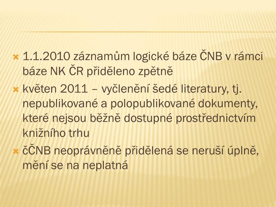  1.1.2010 záznamům logické báze ČNB v rámci báze NK ČR přiděleno zpětně  květen 2011 – vyčlenění šedé literatury, tj.