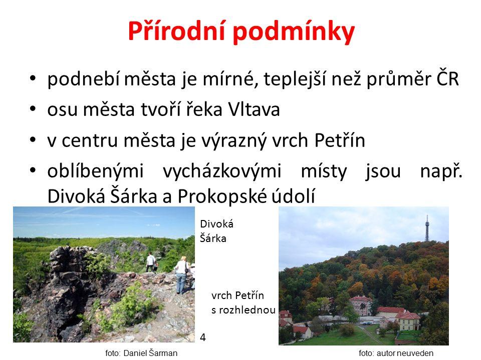 Přírodní podmínky podnebí města je mírné, teplejší než průměr ČR osu města tvoří řeka Vltava v centru města je výrazný vrch Petřín oblíbenými vycházkovými místy jsou např.