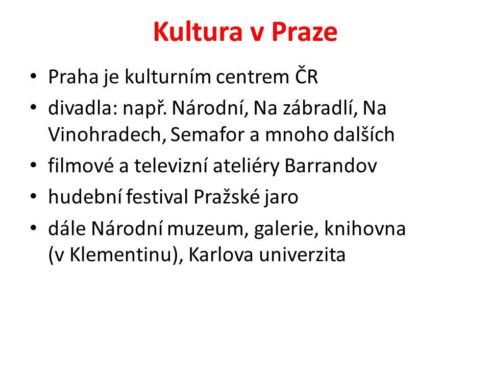 Kultura v Praze Praha je kulturním centrem ČR divadla: např.