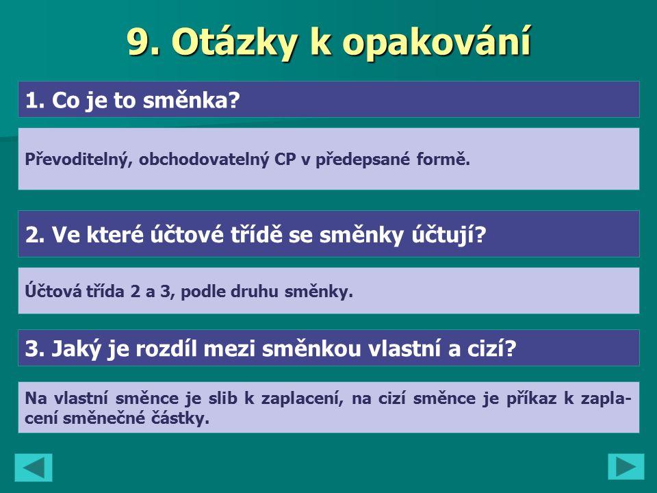 9. Otázky k opakování 1. Co je to směnka. 2. Ve které účtové třídě se směnky účtují.