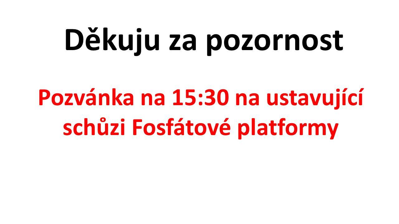 Děkuju za pozornost Pozvánka na 15:30 na ustavující schůzi Fosfátové platformy