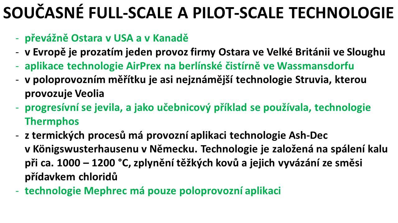 SOUČASNÉ FULL-SCALE A PILOT-SCALE TECHNOLOGIE -převážně Ostara v USA a v Kanadě -v Evropě je prozatím jeden provoz firmy Ostara ve Velké Británii ve Sloughu -aplikace technologie AirPrex na berlínské čistírně ve Wassmansdorfu -v poloprovozním měřítku je asi nejznámější technologie Struvia, kterou provozuje Veolia -progresívní se jevila, a jako učebnicový příklad se používala, technologie Thermphos -z termických procesů má provozní aplikaci technologie Ash-Dec v Königswusterhausenu v Německu.