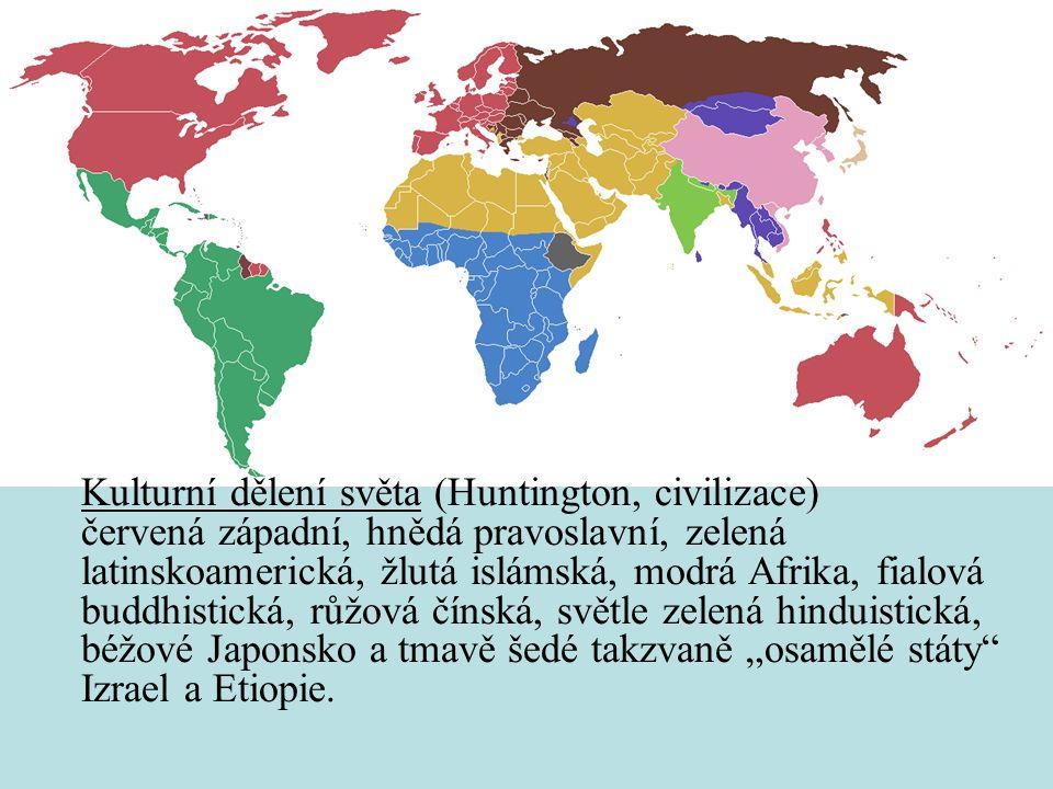"""Kulturní dělení světa (Huntington, civilizace) červená západní, hnědá pravoslavní, zelená latinskoamerická, žlutá islámská, modrá Afrika, fialová buddhistická, růžová čínská, světle zelená hinduistická, béžové Japonsko a tmavě šedé takzvaně """"osamělé státy Izrael a Etiopie."""