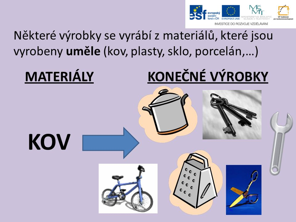 Některé výrobky se vyrábí z materiálů, které jsou vyrobeny uměle (kov, plasty, sklo, porcelán,…) MATERIÁLY KONEČNÉ VÝROBKY KOV