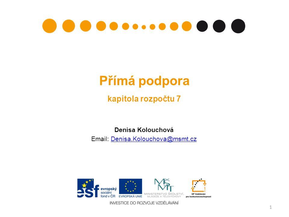 Přímá podpora kapitola rozpočtu 7 Denisa Kolouchová Email: Denisa.Kolouchova@msmt.czDenisa.Kolouchova@msmt.cz 1