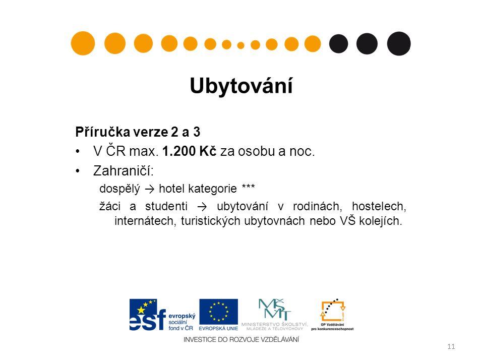 Ubytování Příručka verze 2 a 3 V ČR max. 1.200 Kč za osobu a noc.