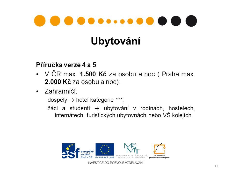 Ubytování Příručka verze 4 a 5 V ČR max. 1.500 Kč za osobu a noc ( Praha max.