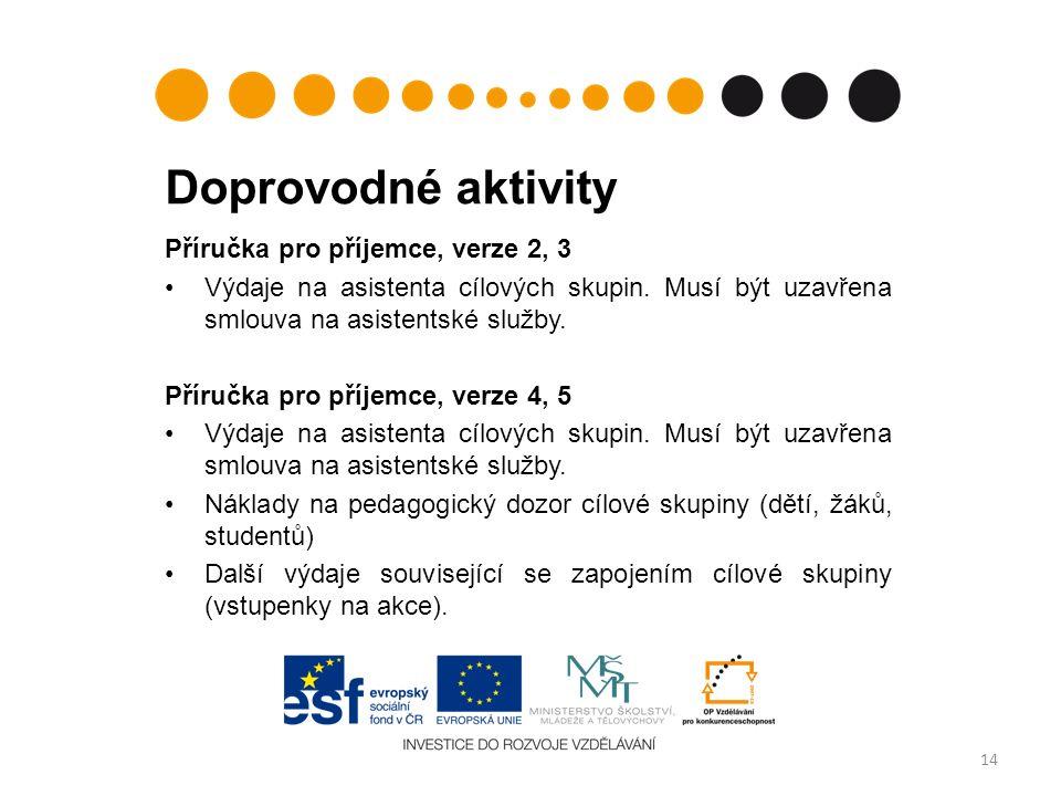 Doprovodné aktivity Příručka pro příjemce, verze 2, 3 Výdaje na asistenta cílových skupin.
