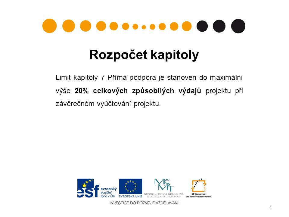 Rozpočet kapitoly Limit kapitoly 7 Přímá podpora je stanoven do maximální výše 20% celkových způsobilých výdajů projektu při závěrečném vyúčtování projektu.
