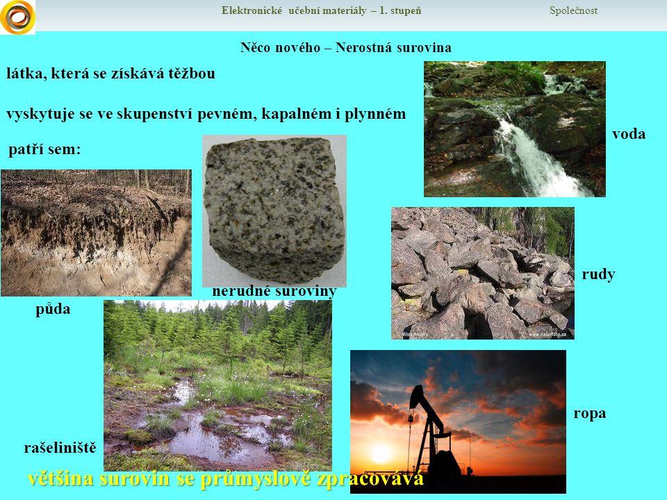 Elektronické učební materiály – 1. stupeň Společnost Něco nového – Nerostná surovina látka, která se získává těžbou vyskytuje se ve skupenství pevném,