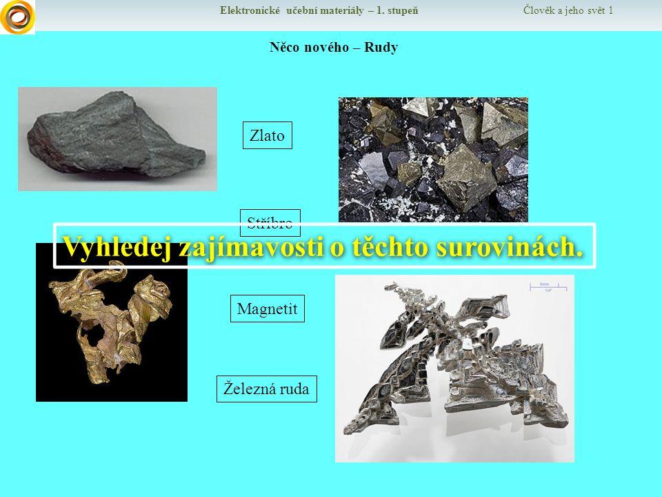 Elektronické učební materiály – 1. stupeň Člověk a jeho svět 1 Něco nového – Rudy Železná ruda Magnetit Zlato Stříbro Vyhledej zajímavosti o těchto su