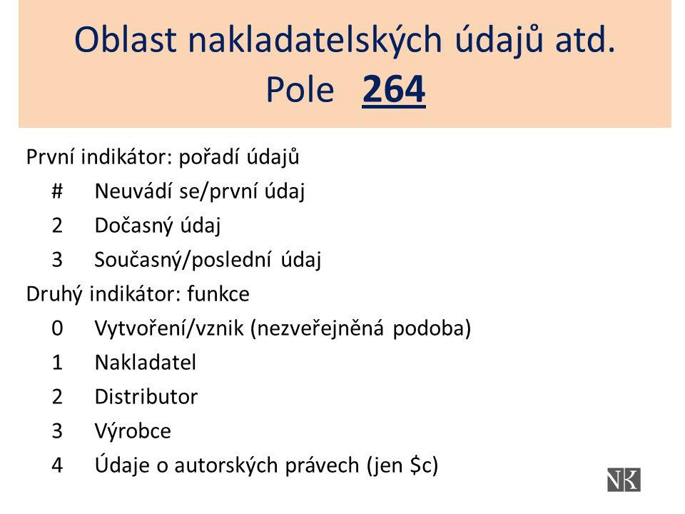 Oblast nakladatelských údajů atd. Pole 264 První indikátor: pořadí údajů #Neuvádí se/první údaj 2Dočasný údaj 3Současný/poslední údaj Druhý indikátor: