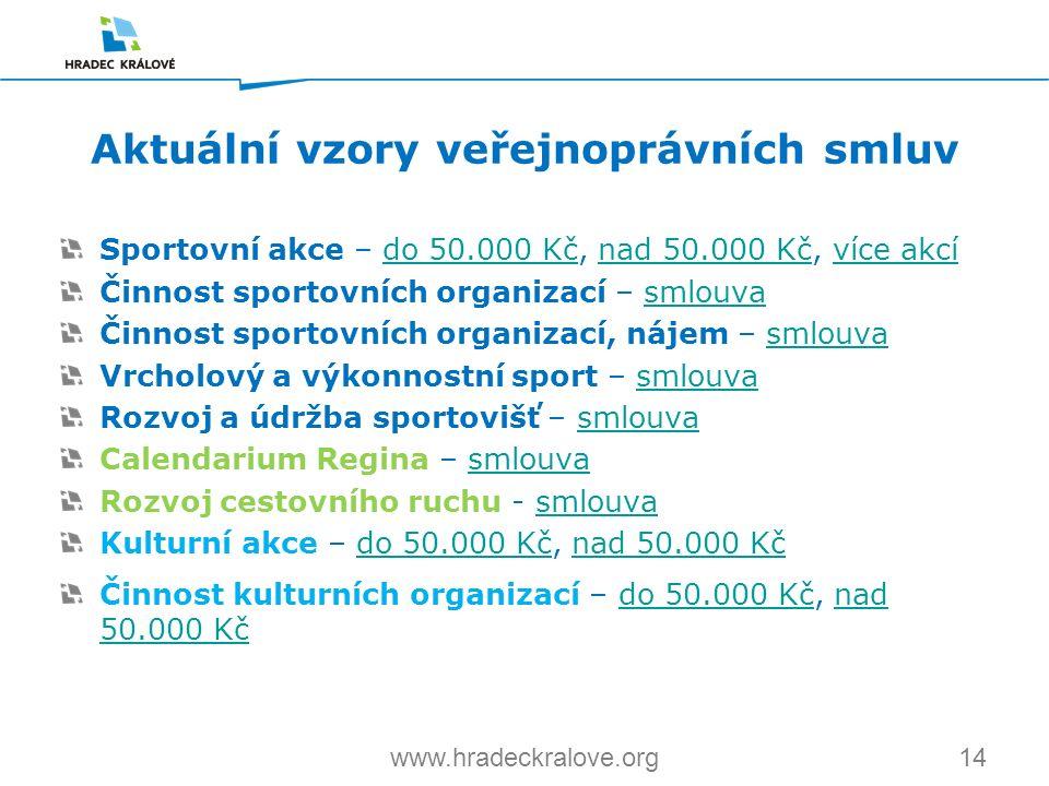 14www.hradeckralove.org Sportovní akce – do 50.000 Kč, nad 50.000 Kč, více akcído 50.000 Kčnad 50.000 Kčvíce akcí Činnost sportovních organizací – sml