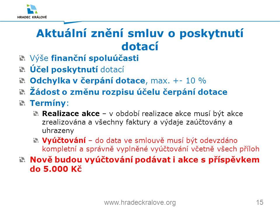 15www.hradeckralove.org Výše finanční spoluúčasti Účel poskytnutí dotací Odchylka v čerpání dotace, max. +- 10 % Žádost o změnu rozpisu účelu čerpání