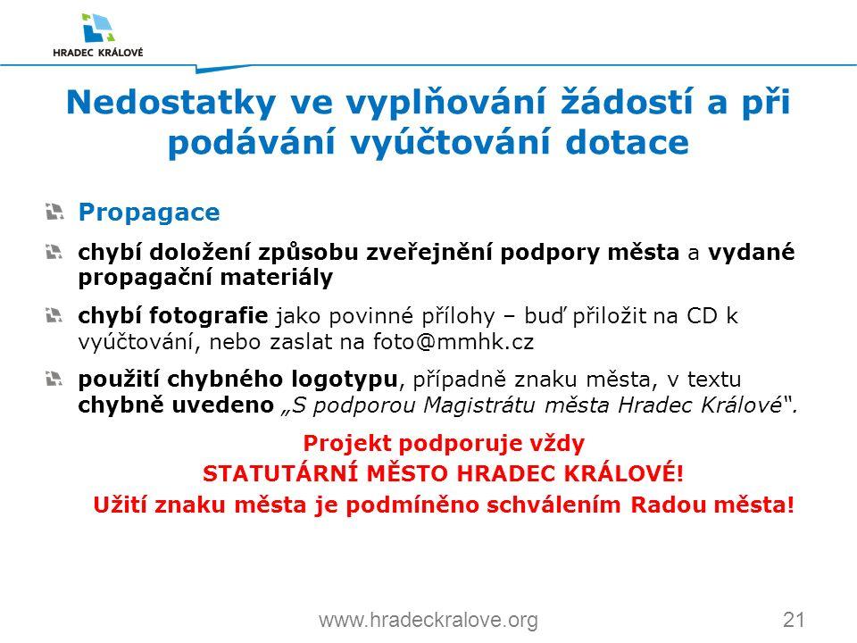 21www.hradeckralove.org Propagace chybí doložení způsobu zveřejnění podpory města a vydané propagační materiály chybí fotografie jako povinné přílohy