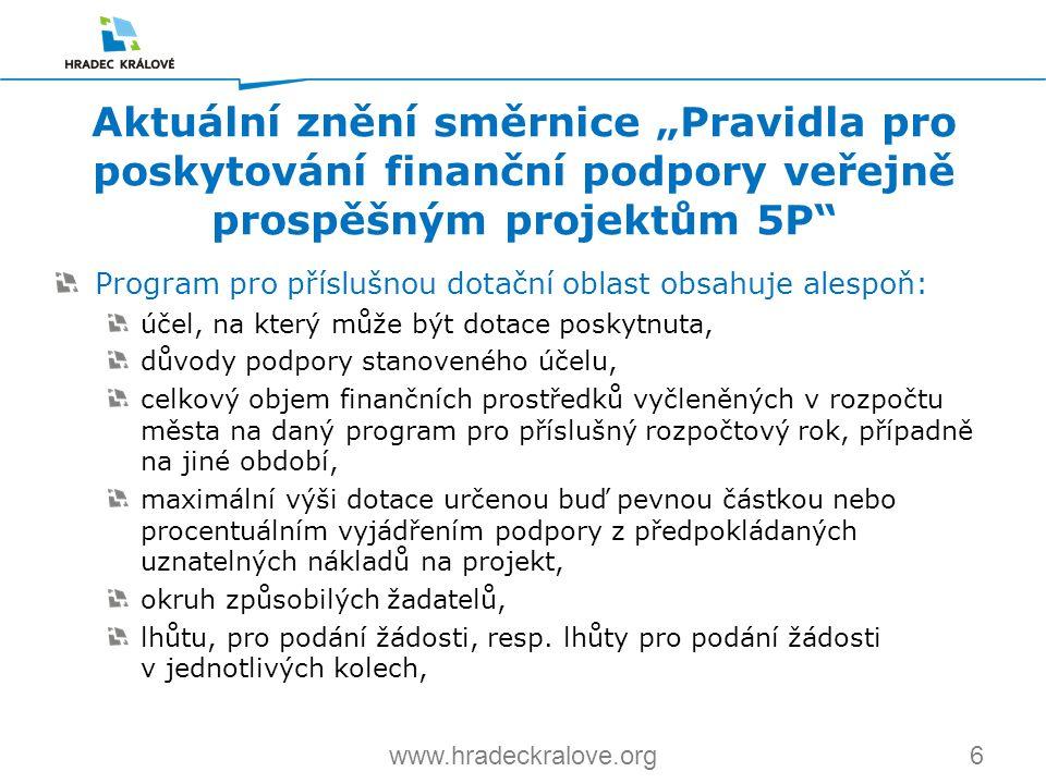 6www.hradeckralove.org Program pro příslušnou dotační oblast obsahuje alespoň: účel, na který může být dotace poskytnuta, důvody podpory stanoveného ú