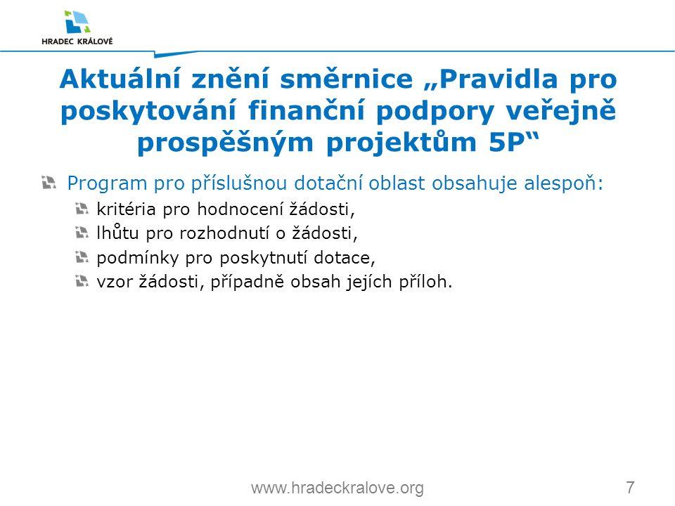 7www.hradeckralove.org Program pro příslušnou dotační oblast obsahuje alespoň: kritéria pro hodnocení žádosti, lhůtu pro rozhodnutí o žádosti, podmínk