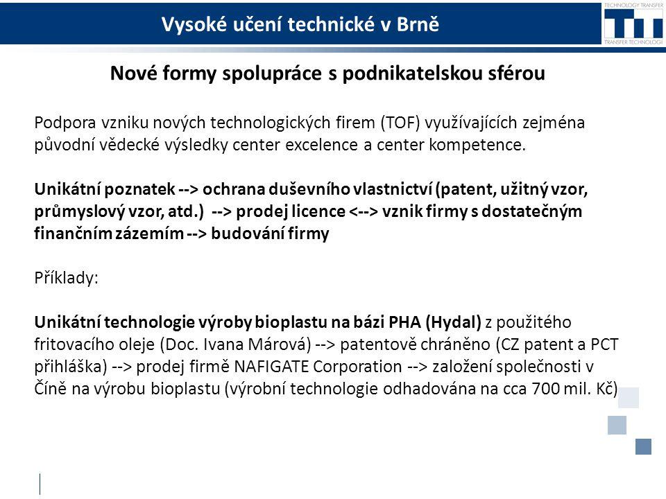 Vysoké učení technické v Brně Nové formy spolupráce s podnikatelskou sférou Podpora vzniku nových technologických firem (TOF) využívajících zejména původní vědecké výsledky center excelence a center kompetence.