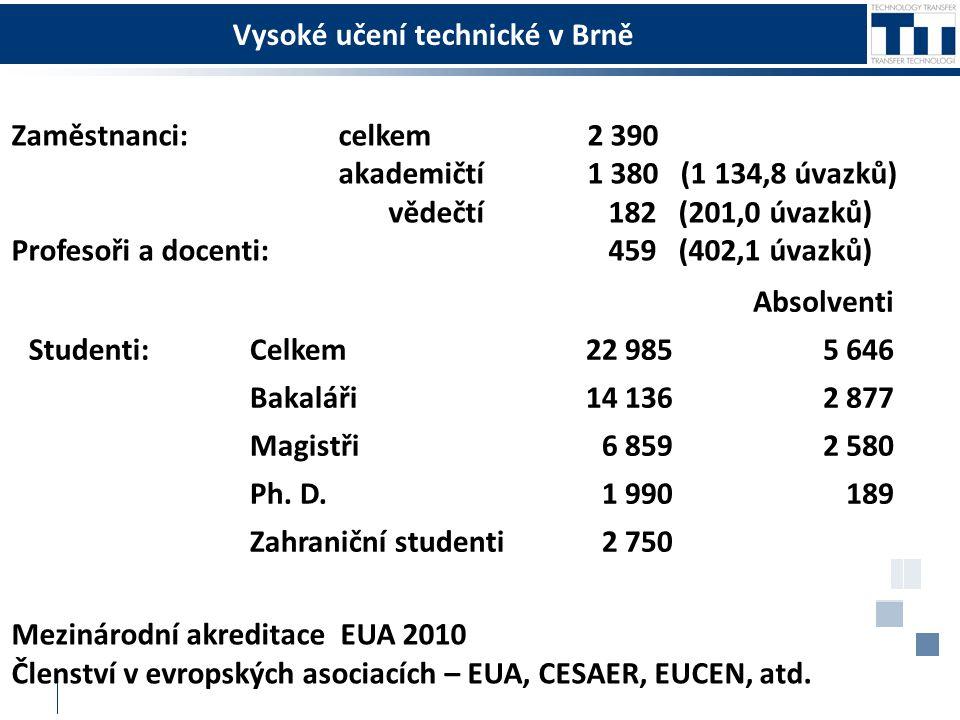 Vysoké učení technické v Brně Zaměstnanci: celkem 2 390 akademičtí 1 380 (1 134,8 úvazků) vědečtí 182 (201,0 úvazků) Profesoři a docenti: 459 (402,1 úvazků) Mezinárodní akreditace EUA 2010 Členství v evropských asociacích – EUA, CESAER, EUCEN, atd.