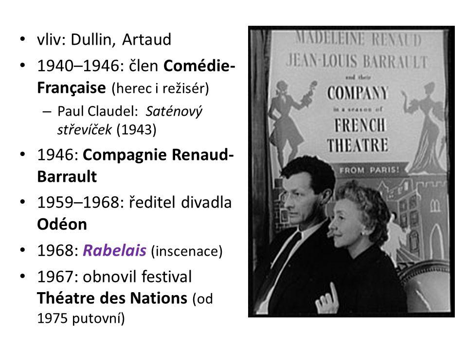 vliv: Dullin, Artaud 1940–1946: člen Comédie- Française (herec i režisér) – Paul Claudel: Saténový střevíček (1943) 1946: Compagnie Renaud- Barrault 1959–1968: ředitel divadla Odéon 1968: Rabelais (inscenace) 1967: obnovil festival Théatre des Nations (od 1975 putovní)