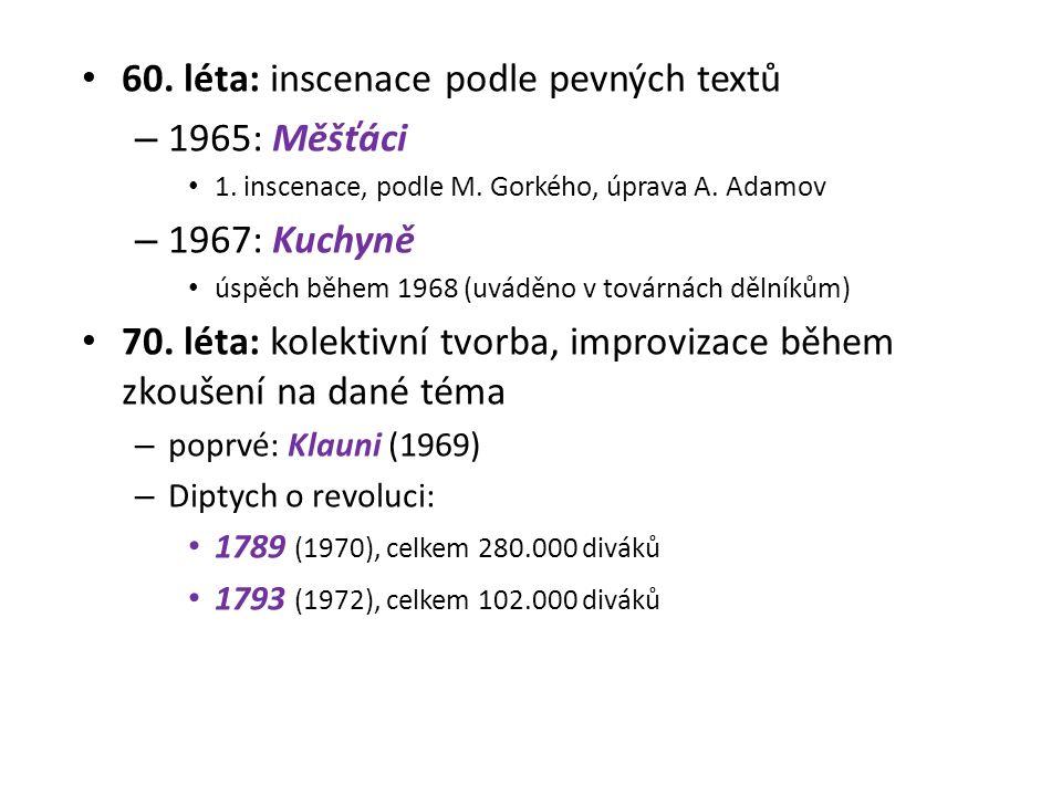60. léta: inscenace podle pevných textů – 1965: Měšťáci 1.