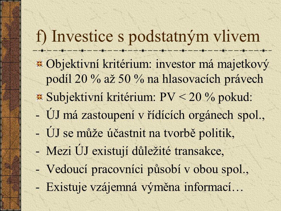 f) Investice s podstatným vlivem Objektivní kritérium: investor má majetkový podíl 20 % až 50 % na hlasovacích právech Subjektivní kritérium: PV < 20