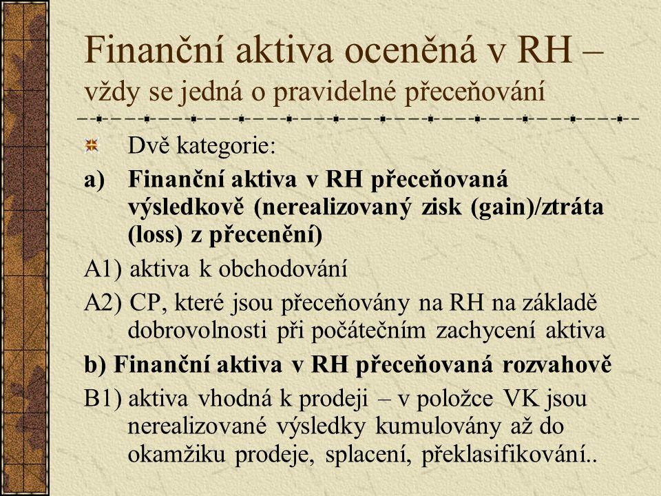 Finanční aktiva oceněná v RH – vždy se jedná o pravidelné přeceňování Dvě kategorie: a)Finanční aktiva v RH přeceňovaná výsledkově (nerealizovaný zisk (gain)/ztráta (loss) z přecenění) A1) aktiva k obchodování A2) CP, které jsou přeceňovány na RH na základě dobrovolnosti při počátečním zachycení aktiva b) Finanční aktiva v RH přeceňovaná rozvahově B1) aktiva vhodná k prodeji – v položce VK jsou nerealizované výsledky kumulovány až do okamžiku prodeje, splacení, překlasifikování..