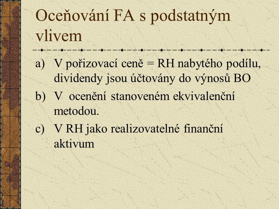 Oceňování FA s podstatným vlivem a)V pořizovací ceně = RH nabytého podílu, dividendy jsou účtovány do výnosů BO b)V ocenění stanoveném ekvivalenční metodou.