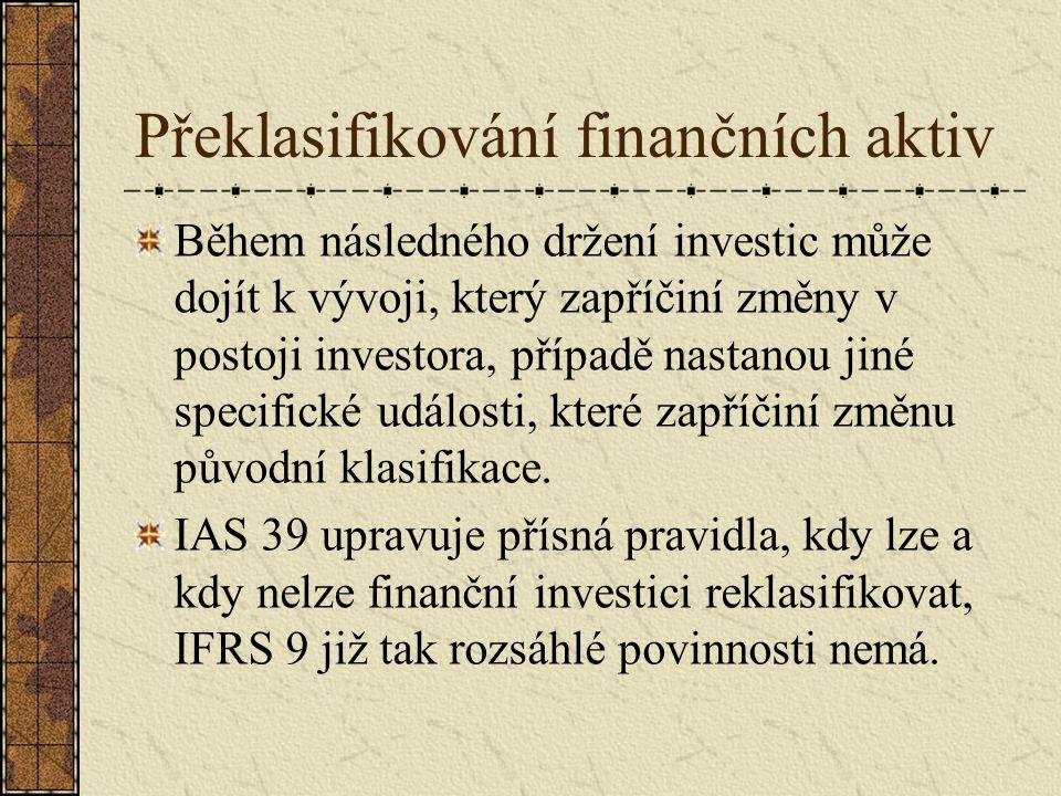 Překlasifikování finančních aktiv Během následného držení investic může dojít k vývoji, který zapříčiní změny v postoji investora, případě nastanou jiné specifické události, které zapříčiní změnu původní klasifikace.
