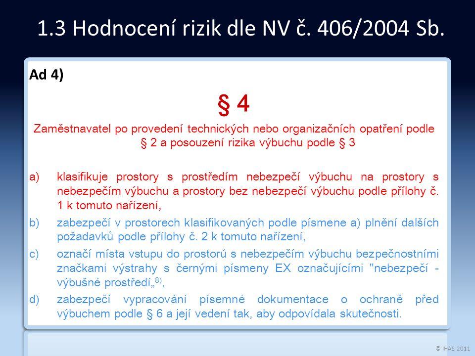 © IHAS 2011 Ad 4) § 4 Zaměstnavatel po provedení technických nebo organizačních opatření podle § 2 a posouzení rizika výbuchu podle § 3 a)klasifikuje prostory s prostředím nebezpečí výbuchu na prostory s nebezpečím výbuchu a prostory bez nebezpečí výbuchu podle přílohy č.