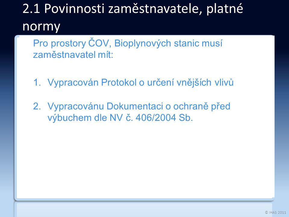 © IHAS 2011 Pro prostory ČOV, Bioplynových stanic musí zaměstnavatel mít: 1.Vypracován Protokol o určení vnějších vlivů 2.Vypracovánu Dokumentaci o ochraně před výbuchem dle NV č.