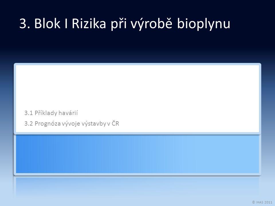 © IHAS 2011 3.1 Příklady havárií 3.2 Prognóza vývoje výstavby v ČR 3.