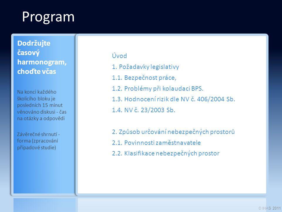 © IHAS 2011 Program Úvod 1. Požadavky legislativy 1.1.