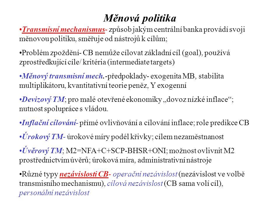 Měnová politika Transmisní mechanismus- způsob jakým centrální banka provádí svoji měnovou politiku, směřuje od nástrojů k cílům; Problém zpoždění- CB