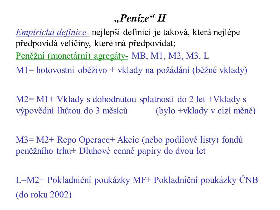 Kvantitativní teorie peněz Neoklasická škola-Fisher[1867-1947],Marshall[1842-1924],Cambridgská škola Fisherova rovnice: M D  V T = P  T, kde M D označuje optimální poptávané množství oběživa, V T transakční rychlost oběhu peněz, P cenovou hladinu T reálné transakce Problém- Jak měřit transakce.
