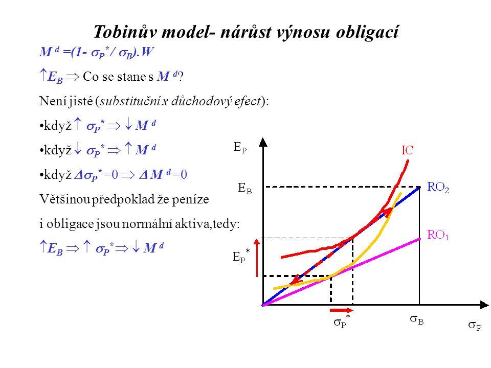 """Friedmanův model M d /P = M d /P (Y P ; E B - E M ; E S - E M ;  e - E M ) + - - - Kde: -Y P...permanentní důchod (očekávané celoživotní bohatství):  Ytransitorní důchod permanentní důchod -E B, E M, E S výnos obligací, peněz a akcií  e –očekávaná inflace (""""výnos zboží ) stabilní Y P stabilní E B - E M, E S - E M a  e - E M : 1)  E B   zisk bank   depozitní úrokové sazby   E M 2)  E S  akcie a obligace jsou substituty   E B   E M 3)i=r +  e tedy   e   i=r +  e   E B   E M M d /P nezávisí na úrokových sazbách M d /P = M d /P(Y P ) narozdíl od kvantitativní teorie peněz: V může fluktuovat v rámci cyklu: transitorní  Y  Y P se nemění  M d /P se nemění    V= Y/(M d /P)"""