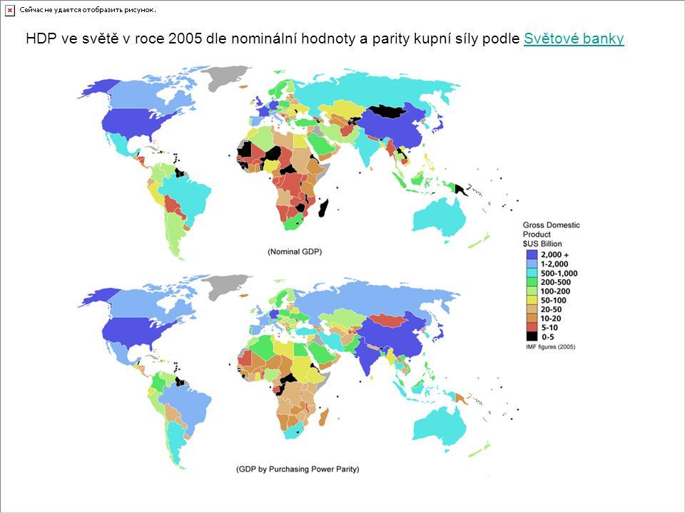 HDP ve světě v roce 2005 dle nominální hodnoty a parity kupní síly podle Světové bankySvětové banky