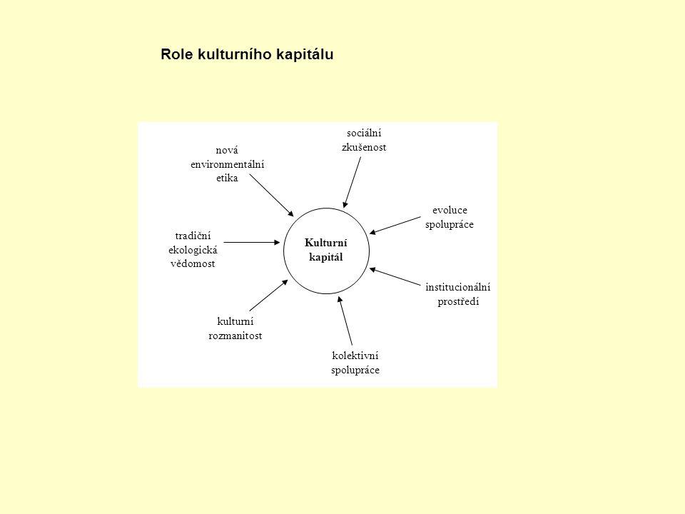 Kulturní kapitál sociální zkušenost evoluce spolupráce institucionální prostředí kolektivní spolupráce nová environmentální etika tradiční ekologická vědomost kulturní rozmanitost Role kulturního kapitálu