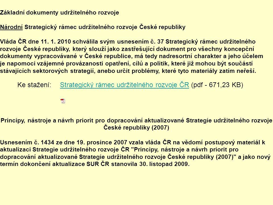 Základní dokumenty udržitelného rozvoje Národní Strategický rámec udržitelného rozvoje České republiky Vláda ČR dne 11.