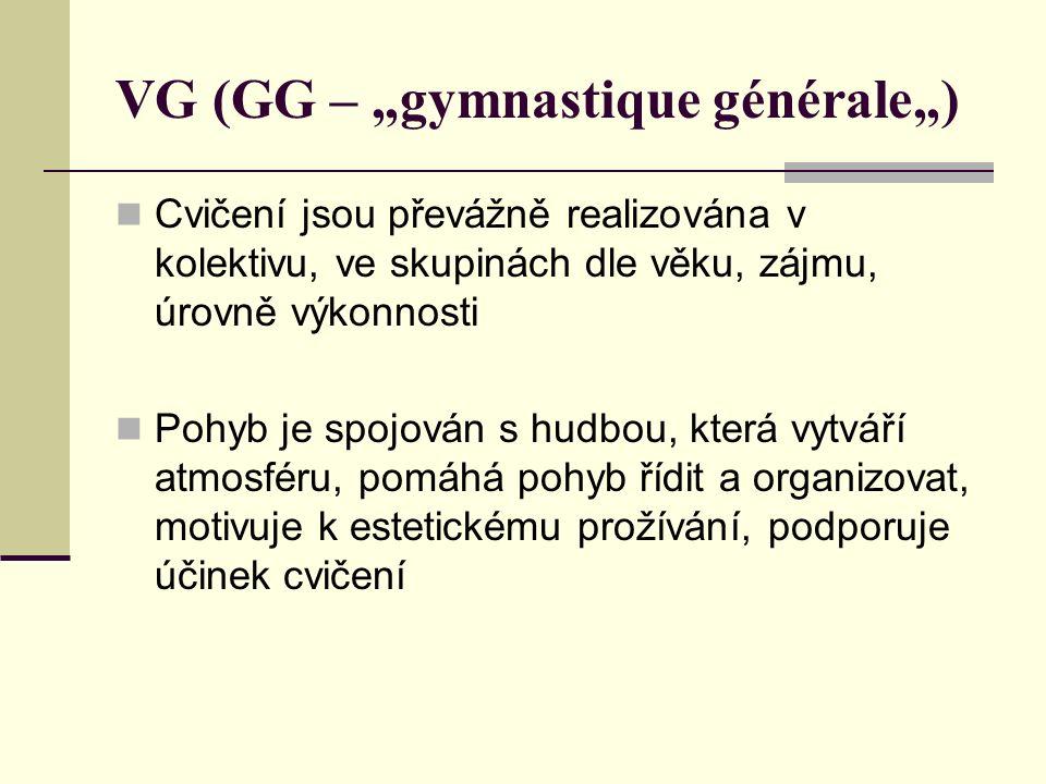 """VG (GG – """"gymnastique générale"""") Cvičení jsou převážně realizována v kolektivu, ve skupinách dle věku, zájmu, úrovně výkonnosti Pohyb je spojován s hudbou, která vytváří atmosféru, pomáhá pohyb řídit a organizovat, motivuje k estetickému prožívání, podporuje účinek cvičení"""