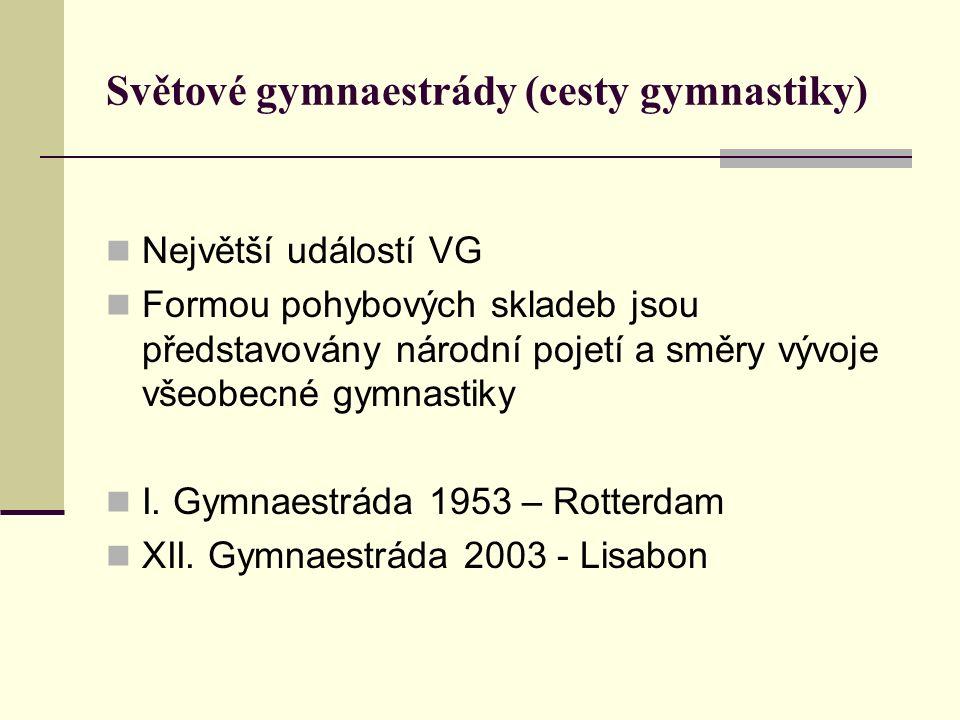 Světové gymnaestrády (cesty gymnastiky) Největší událostí VG Formou pohybových skladeb jsou představovány národní pojetí a směry vývoje všeobecné gymnastiky I.