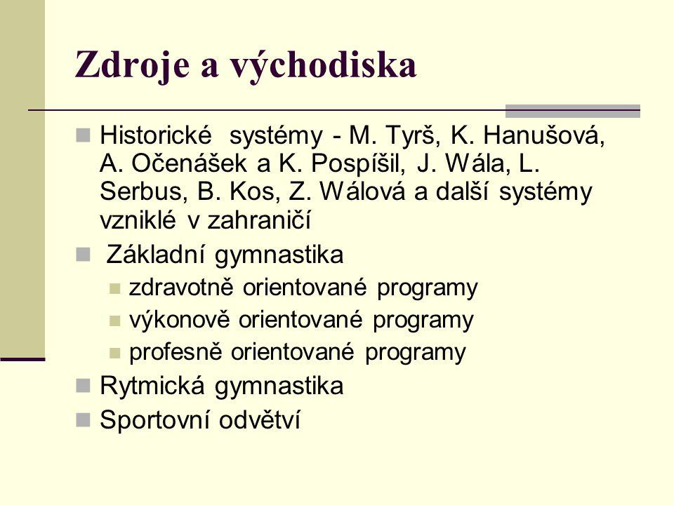 Zdroje a východiska Historické systémy - M.Tyrš, K.