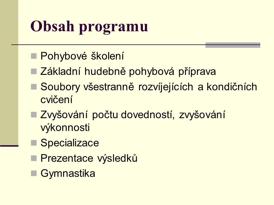 Obsah programu Pohybové školení Základní hudebně pohybová příprava Soubory všestranně rozvíjejících a kondičních cvičení Zvyšování počtu dovedností, zvyšování výkonnosti Specializace Prezentace výsledků Gymnastika