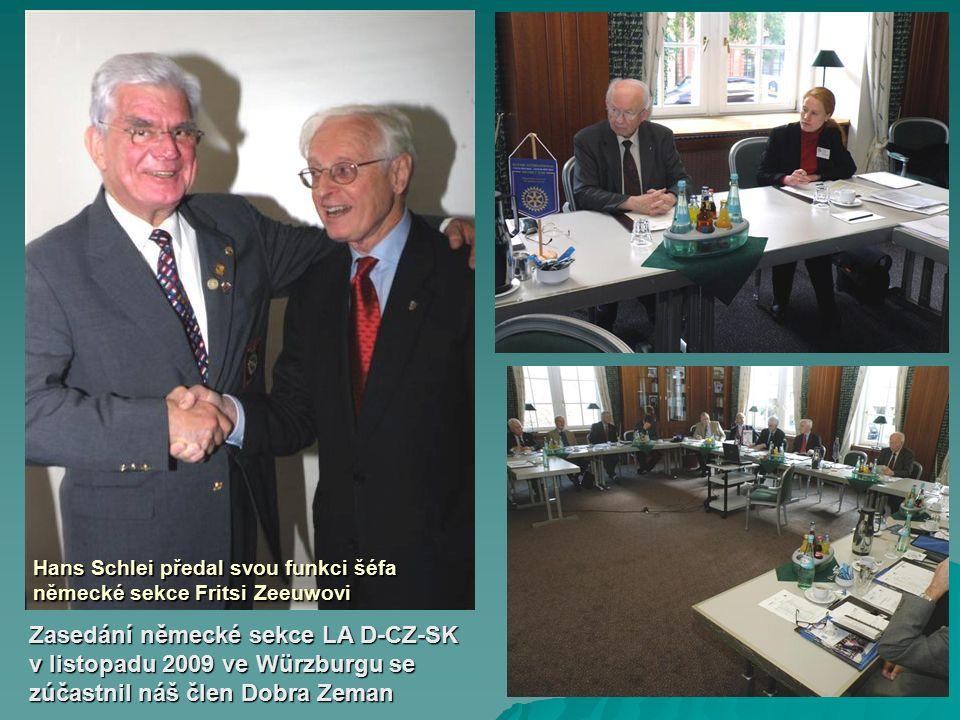 Zasedání německé sekce LA D-CZ-SK v listopadu 2009 ve Würzburgu se zúčastnil náš člen Dobra Zeman Hans Schlei předal svou funkci šéfa německé sekce Fritsi Zeeuwovi