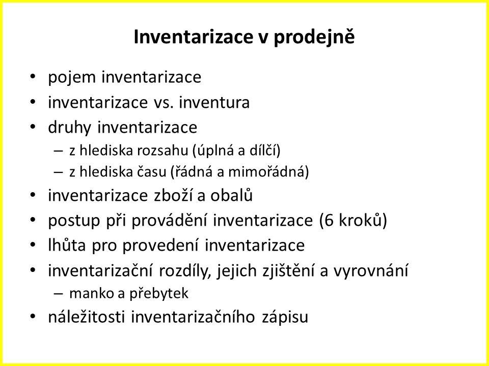 Inventarizace v prodejně pojem inventarizace inventarizace vs. inventura druhy inventarizace – z hlediska rozsahu (úplná a dílčí) – z hlediska času (ř