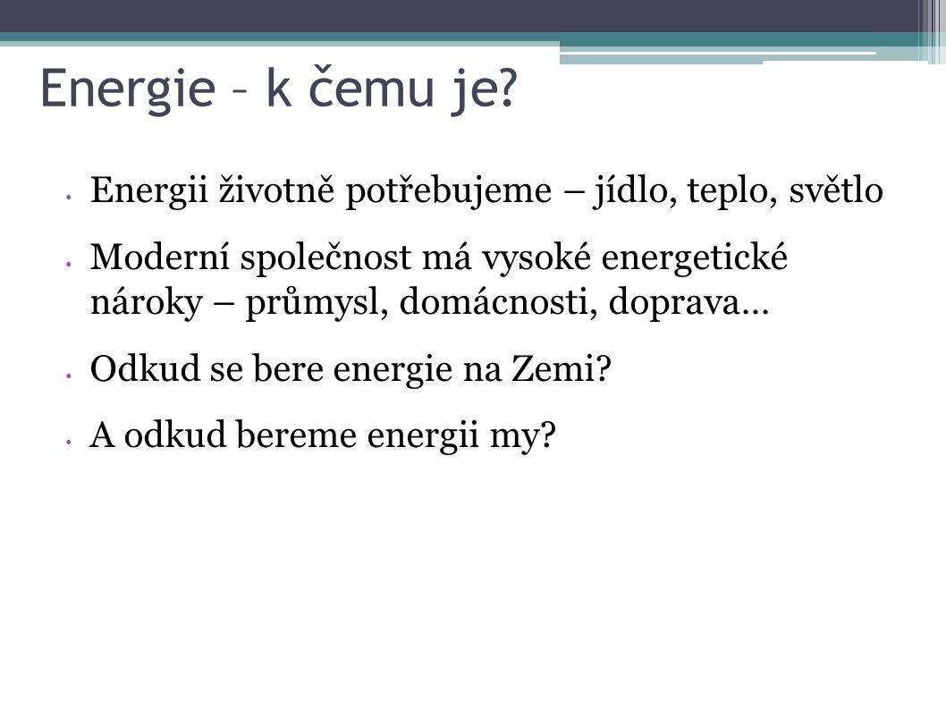 Energie – k čemu je? Energii životně potřebujeme – jídlo, teplo, světlo Moderní společnost má vysoké energetické nároky – průmysl, domácnosti, doprava