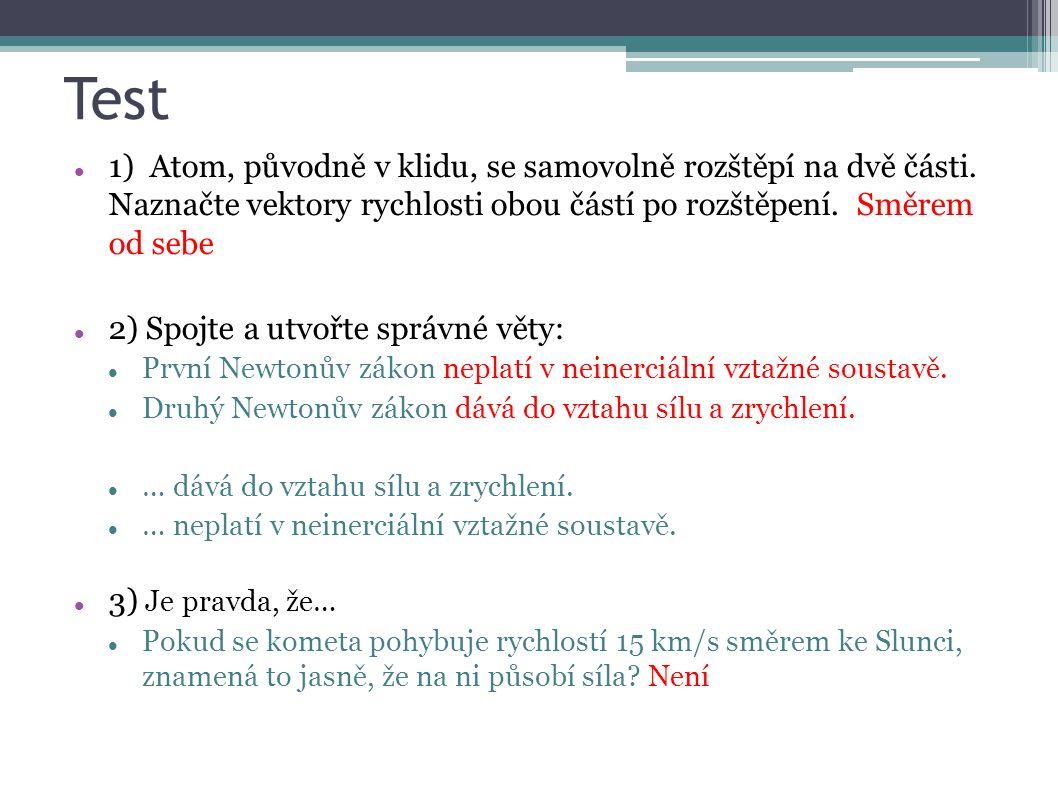Test 1) Atom, původně v klidu, se samovolně rozštěpí na dvě části. Naznačte vektory rychlosti obou částí po rozštěpení. Směrem od sebe 2) Spojte a utv