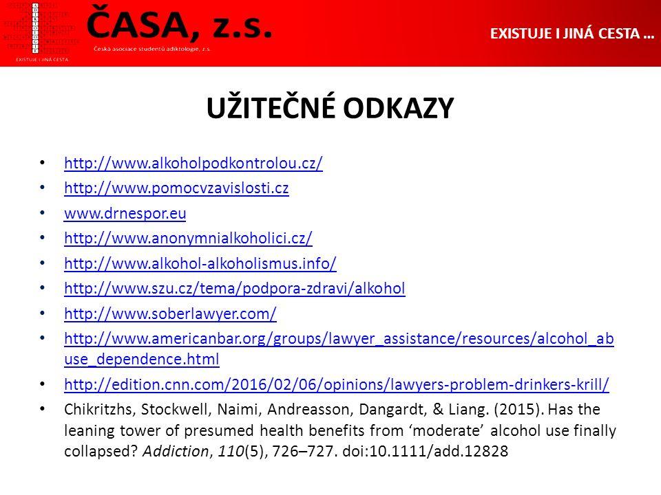 UŽITEČNÉ ODKAZY EXISTUJE I JINÁ CESTA … http://www.alkoholpodkontrolou.cz/ http://www.pomocvzavislosti.cz www.drnespor.eu http://www.anonymnialkoholici.cz/ http://www.alkohol-alkoholismus.info/ http://www.szu.cz/tema/podpora-zdravi/alkohol http://www.soberlawyer.com/ http://www.americanbar.org/groups/lawyer_assistance/resources/alcohol_ab use_dependence.html http://www.americanbar.org/groups/lawyer_assistance/resources/alcohol_ab use_dependence.html http://edition.cnn.com/2016/02/06/opinions/lawyers-problem-drinkers-krill/ Chikritzhs, Stockwell, Naimi, Andreasson, Dangardt, & Liang.